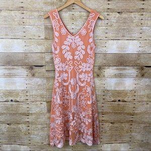Sundance Orange Embroidered Gauze Midi Dress XS